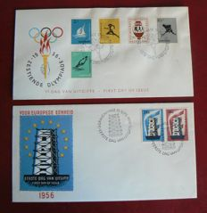 The Netherlands 1956 - First Day Cover Olympiad and Europe - NVPH E26 + E27 with inspection befund.