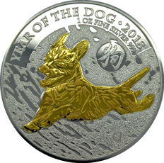 2 pounds - British Royal Mint - Year of the dog 2018 - 1 oz of 999 silver - gilded - finished with 999 gold