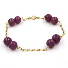 Yellow gold, 18 kt/750  - Bracelet - Rubies - Length 20.00 cm (approx.)