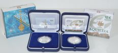 Italy - 10 Euro coin 2009 'International Year of Astronomy' and 10 euro coin 2010 'Aquileia' (2 pieces) -  silver