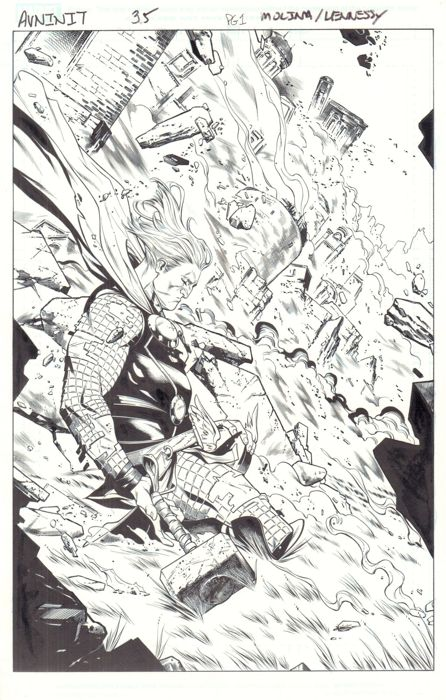 THOR! Original Art By Jorge Molina & Andrew Hennessy - Marvel Comics - Avengers: The Initiative #35 - Page 1 - Title Splash - (2016)