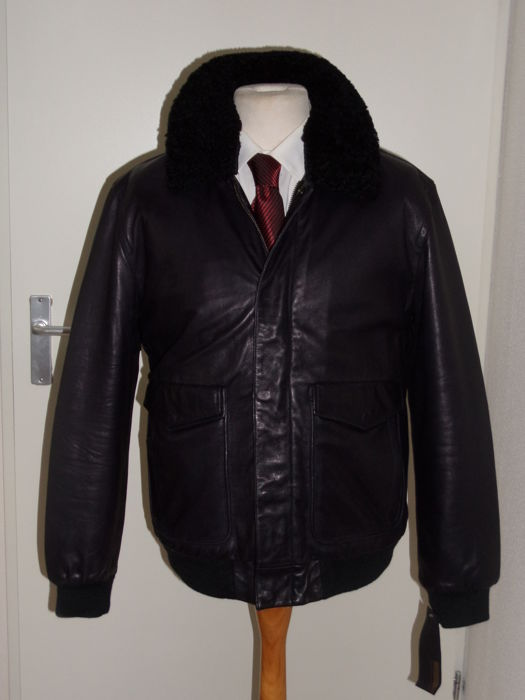 Marc Jacobs - Leather Flight jacket with Shearling Collar