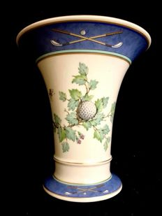 KAISER , Germany  - A beautiful  , vintage , trumpet shaped vase, with winter Christmas decoration and GOLF sport motifs , maker marks