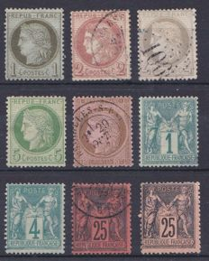France 1870/86 – Selection of classics – Yvert 50, 51, 52, 53, 54, 61, 63, 91 and 97