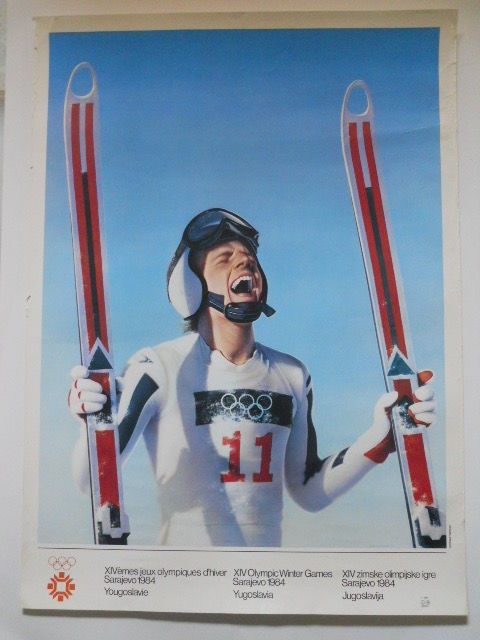 Poster of the 1984 XIV Winter Olympic Games in Sarajevo, Yugoslavia, by Gottfried Helnwein