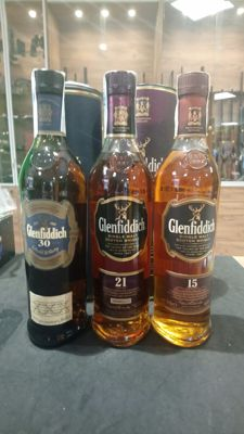 Whisky  Glenfiddich 30 years - 21 years & 15 years