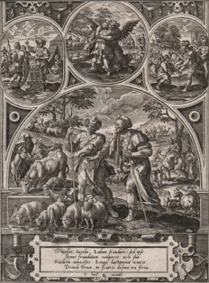 Adriaen Collaert (1560 - 1618) -Scene from Genesis -  Events from the life of Jacob - Published by Eduard van Hoeswinckel Ca. 1579-1583