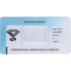 0.22 ct round brilliant cut diamond, D VVS1