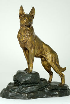Louis-Albert Carvin (1875-1951) - large zamak sculpture of a herding dog - France - circa 1910
