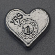 USA - Yeagers Poured Silver - 1 oz of 999 fine silver - silver bar - heart - hand cast