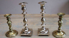 Set of beautiful Bell candlesticks from South Europe 19th century and a set of Dutch candlesticks