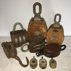 9 antique wooden ship's pulleys