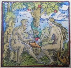 Woodcut by Master of Petrach [Hans Weiditz 1495-1537] - Adam & Even in Garden of Eden - 1544