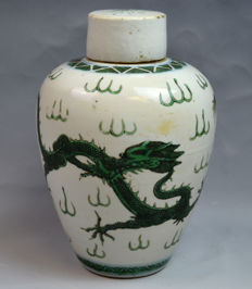 Chinese 19th Century Green Glazed Porcelain Dragon Jar with Cover