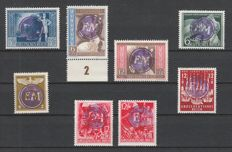 Fredersdorf 1945 - batch of special stamps of the German Empire with SA/SS with overprint FM and the 3 not officially issued postal stationary post cards