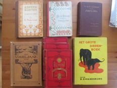 Lot with eight Dutch language, illustrated books about nature - 1870/1939