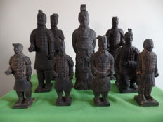 10 Terracotta statues - warriors from the Chinese terracotta army - China - late 20th century