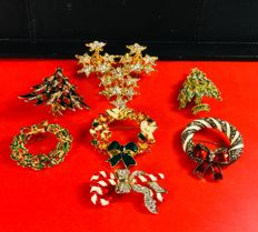Seven vintage Christmas brooches