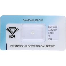 0.19 ct brilliant cut diamond, F VS2