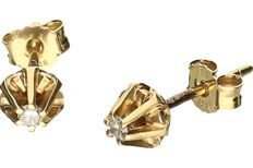 14 kt yellow gold ear studs set with brilliant cut diamond, approx. 0.06 ct in total - Diameter: 0.05 cm