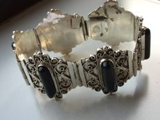 Vintage silver bracelet with Onyx Mexico Sterling / 42 grams