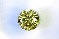 Diamant of 0.70 ct  – Fancy Yellowish Green  – * NO RESERVE PRICE *