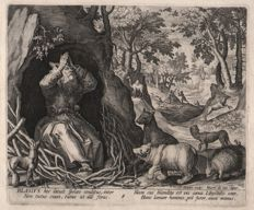 Jan Sadeler I  (1550 - 1600 ) - Saint Blasius with  lthe animals of the wood- 1594