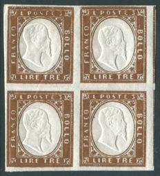 Sardinia 1861 - IV issue - 3 Lire bright copper colour in block of 4 - Sassone No.  18A