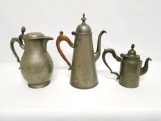 Antique pewter jugs - marked by masters - Brussels, Belgium - c. 1800
