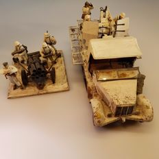 Scale model army truck and figures in snow camouflage