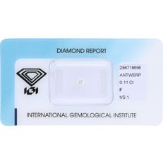 0.11 ct brilliant cut diamond, F VS1