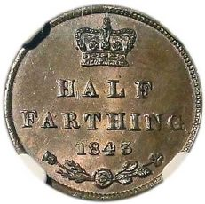 United Kingdom - ½ Farthing 1843 Victoria in NGC Slab - copper