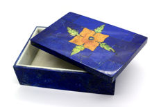 New Design Lapis Lazuli And Jade Jewellery Box - 14.7 x 10 x 5.1  cm - 730 gm