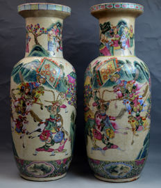Pair of Chinese 19th Century Famille Rose Porcelain Vases with Figures