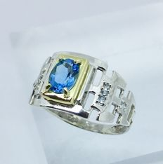 925 silver London Topaz and aquamarine mens ring - size 11
