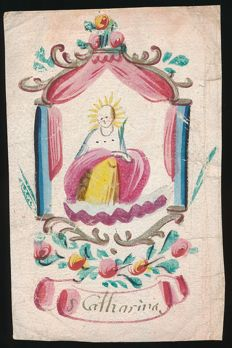 18 century watercolour of the Holy Saint Catharina, Flanders