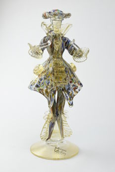 "Vetreria Murano Design - ""Goldoniana Millefiori gold leaf"" sculpture"