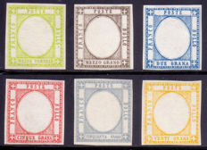 Neapolitan Provinces 1861 - Series of six tests without portrait in chosen colours - CEI N. P22, 23, 25, 26, 28 and 29