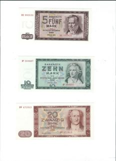 Germany (GDR) - 50 to 100 marks 1964 - Pick 22, 23, 24, 25, and 26