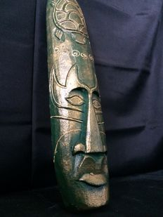 Old Wooden Greenish Tribal Mask