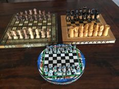 3 wooden travel chess sets in 1 buy
