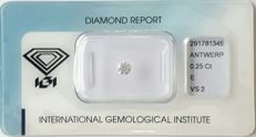 IGI Certified & Sealed Natural Diamond, 0.25 Ct, E Color, VS2 Clarity, *** NO RESERVE PRICE****