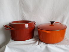 lot of two beautiful large heavy pans from Cousances - round and oval