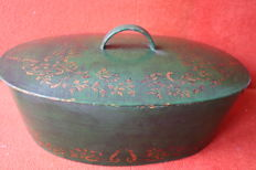 Large iron  pan , hand painted  - Portugal ca.1900