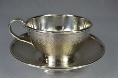 Sterling silver cup and saucer, trompe l'oeil pattern, France, by silversmith Veyrat, 1831-1840