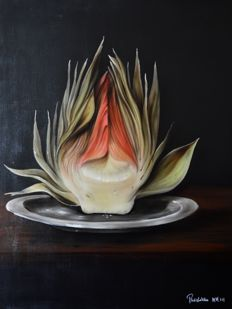 Paul Karslake (b.1958) - An artichoke on a pewter platter.
