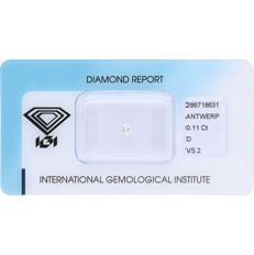 0.11 ct brilliant cut diamond, D VS2