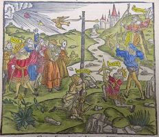 Gruninger Master; Virgil - Giunta Edition - Medieval Rural Landscape: the Cross Bow Competition - Hand colored - 1515