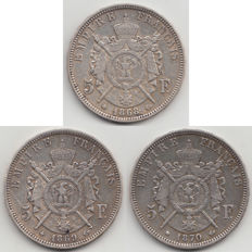 France - 5 Francs 1868 BB, 1869 BB and 1870A (3 items) - Napoleon III - silver