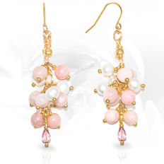 Pair of 14kt/585 yellow gold 'Cluster earwires with Pink Opal and Imperial topaz   – Length 5.8 cm